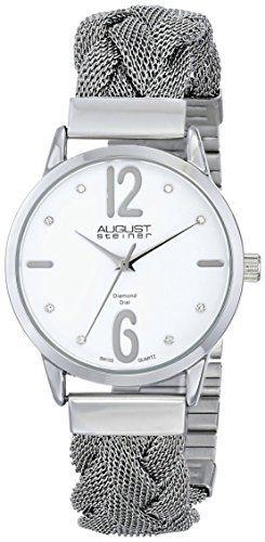 August Steiner Women's Swiss Quartz Diamond Accent White Dial Stainless Steel Braided Mesh Bracelet Watch