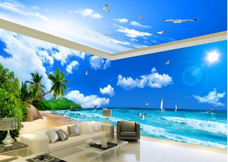 Обои для гостиной с Видом На Море Пляж Кокосовая Пальма тема космоса Украшения Дома