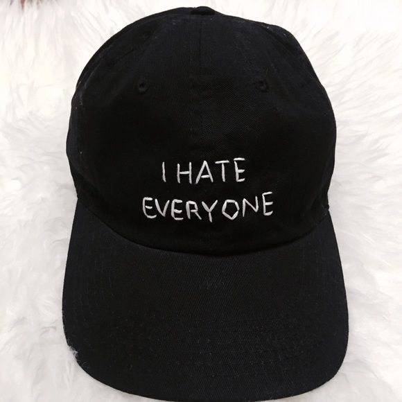 I Hate Everyone Baseball Cap Brand new!  Same baseball cap/hat used as Brandy Melville Can do it on a navy, black, white, or light pink hat. Able to do cust0m orders but please contact me so I can see how simple/complex it is.  Tags: brandy melville, john galt, american apparel, zara, urban outfitters, anthropology, h&m, forever 21, nordstrom, topshop Brandy Melville Accessories Hats