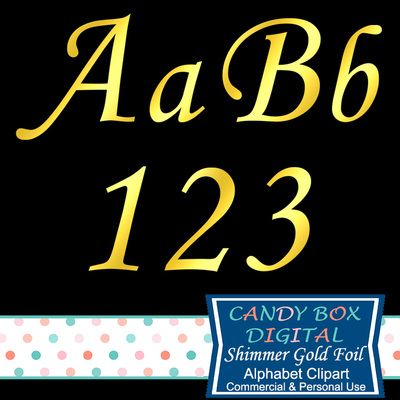 Cursive Shimmer Gold Foil Alphabet Clipart by Candy Box Digital. Great for scrapbooks, journals, invitations, graphic design, blogs, websites, cardmaking, etc.