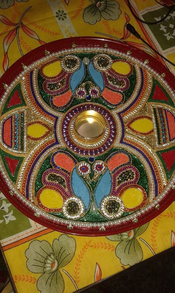 17 best images about pooja thali on pinterest rakhi for Aarti thali decoration with clay