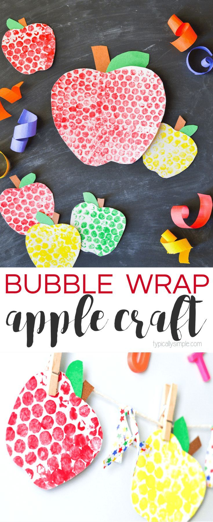 Cute bubble wrap painted apples. Such a fun cute craft for the kids!