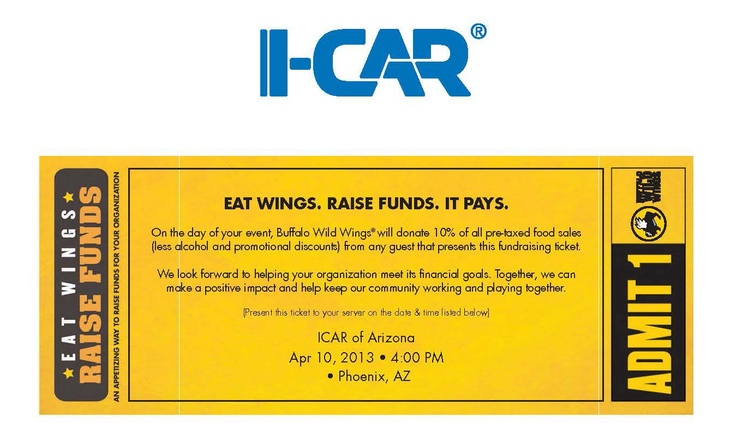 Tomorrow (Apr. 10) , EVIT Collision Repair invites you to the Arizona I-CAR Fundraiser being hosted at the 6 valley Buffalo Wild Wings locations starting at 4 p.m.     Print the coupon and share with your friends and family. The money raised will help support programs like EVIT Collision Repair and other programs. We look forward to seeing you.