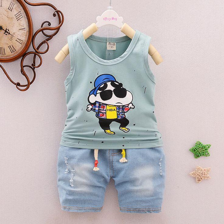 2017 New Summer Kids Boys Clothing Set Cartoon shirt + Jeans Short Cotton Baby Boys Suits Set fashion Children Boy Clothes