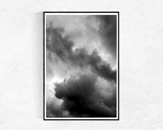 Wolken Print, zwart-wit, Scandinavische Print, Abstract Art Print, wolken Poster, grote kunst aan de muur, zwart-wit, afdrukbare kunst