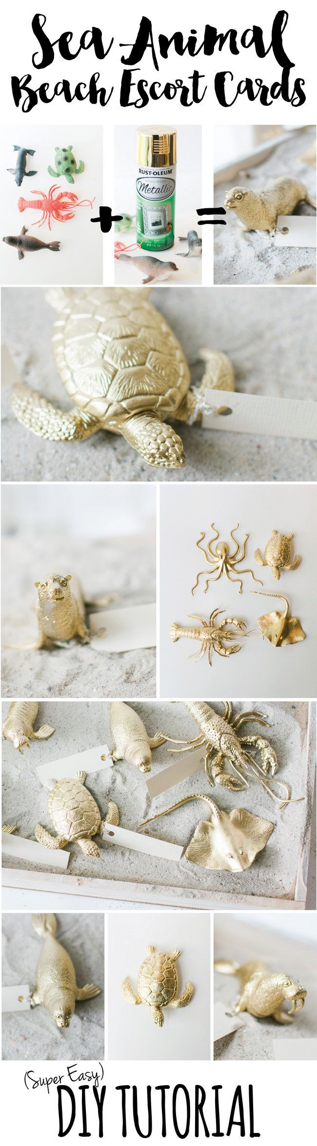 (You could do this with almost anything!) Learn how to make these adorable beach Wedding Escort Cards from plastic sea animals in minutes using gold spray paint and bakers twine! ♥ click http://www.confettidaydreams.com/diy-beach-wedding-escort-cards/ for the DIY tutorial and supply list.