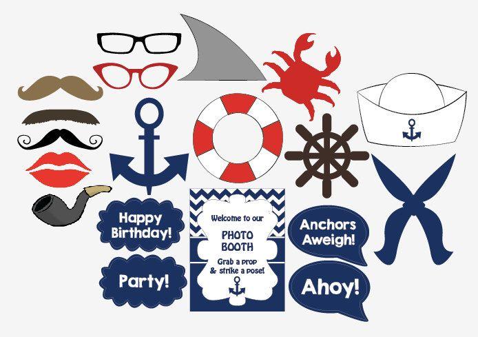 Nautical Photo Booth Props printable DIY sailor birthday party photobooth de redmorningstudios en Etsy https://www.etsy.com/es/listing/191787974/nautical-photo-booth-props-printable-diy