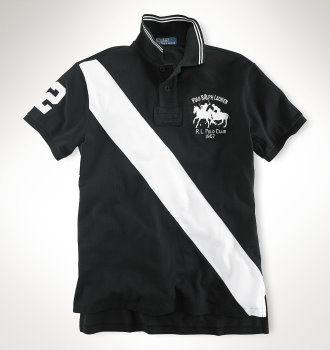 Ralph Lauren Classic-Fit Match Striped Polo Black/White