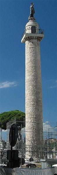 Trajan's Column (Italian: Colonna Traiana) is a Roman triumphal column in Rome, Italy, that commemorates Roman emperor Trajan's victory in the Dacian Wars. It was probably constructed under the supervision of the architect Apollodorus of Damascus at the order of the Roman Senate.