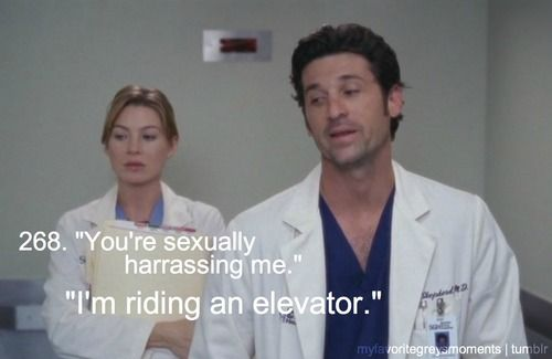 "Sexual harassment, Grey's Anatomy style. From season 1, ep. 2: ""The First Cut Is the Deepest"""