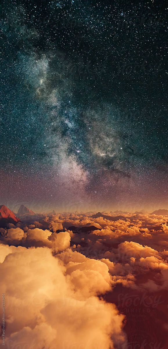 Landscape With Clouds At Sunset And Stars Stocksy United Night Sky Wallpaper Landscape Sunset Images