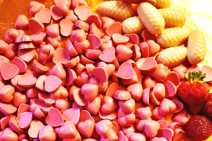 Sea of strawberry white chocolate hearts. They are also vegan and soyfree.