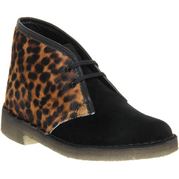 Clarks Originals Desert Boots ($91) ❤ liked on Polyvore featuring shoes, boots, ankle booties, ankle boots, leopard print suede mix, women, short black boots, leopard ankle boots, black booties и suede booties