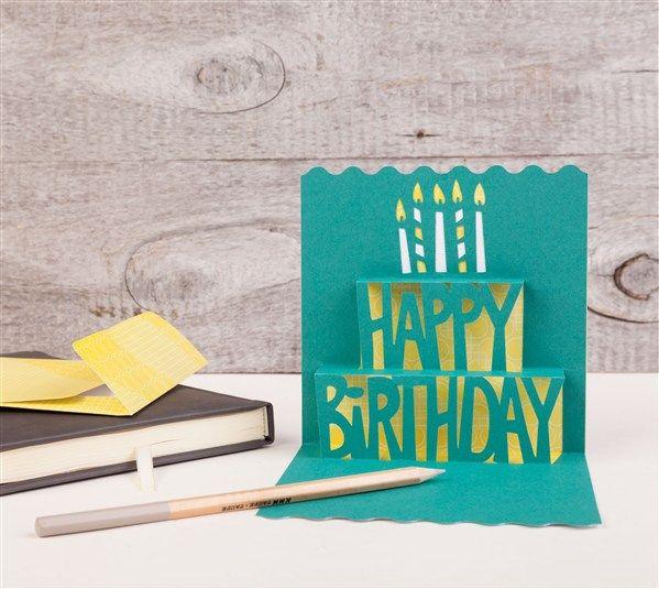 Simple Pop-up Cards Cricut cartridge -- Happy Birthday pop-up card. Make It Now with the Cricut Explore machine in Cricut Design Space.