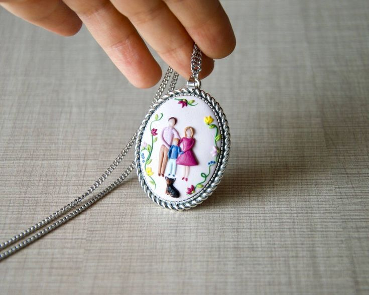 Excited to share the latest addition to my #etsy shop: Family necklace, mothers necklace, personalized, family portrait, custom portrait, illustration, birthday gift for wife, for her