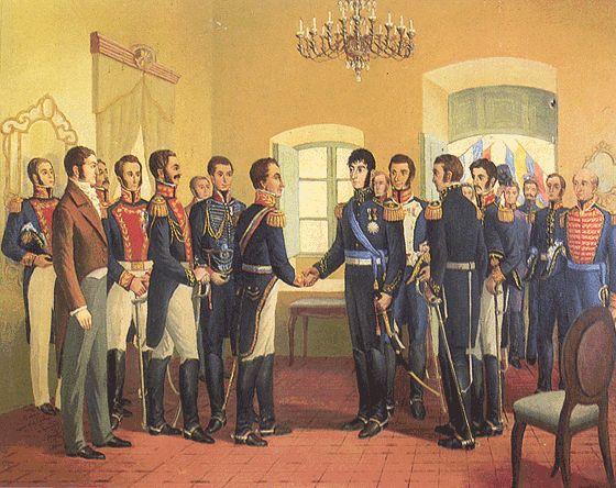 1822 - Entrevista de Guayaquil -Guerra independencia Hispanoamerica  reunión entre Simón Bolívar y José de San Martín con propósito de discutir el destino del Perú y en forma general el de América del Sur.