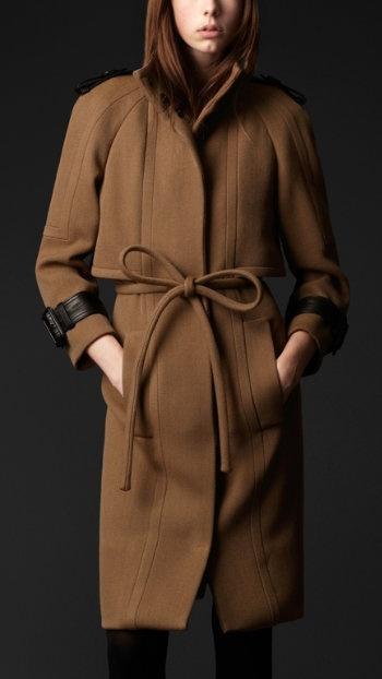 Dark Camel Coat with Ribbon