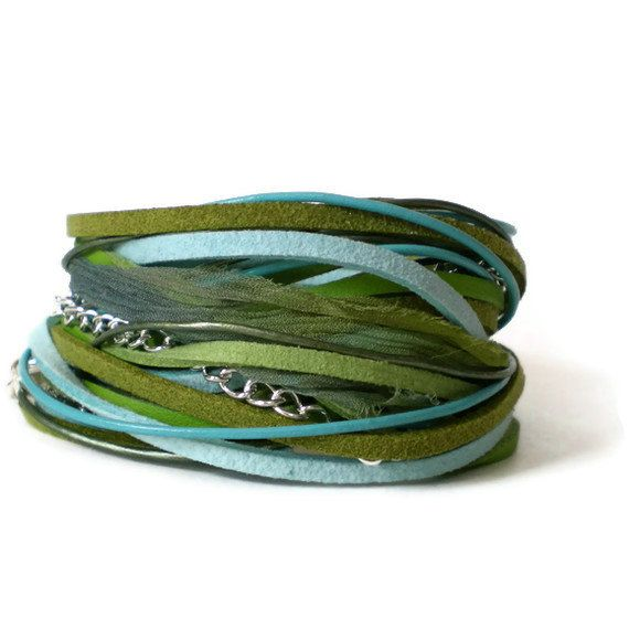 boho wrap bracelet turquoise lime green leather by jcudesigns, £18.00