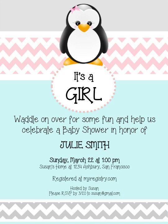 Penguin Invitation Penguin Baby Shower by AshburyHeightsStudio