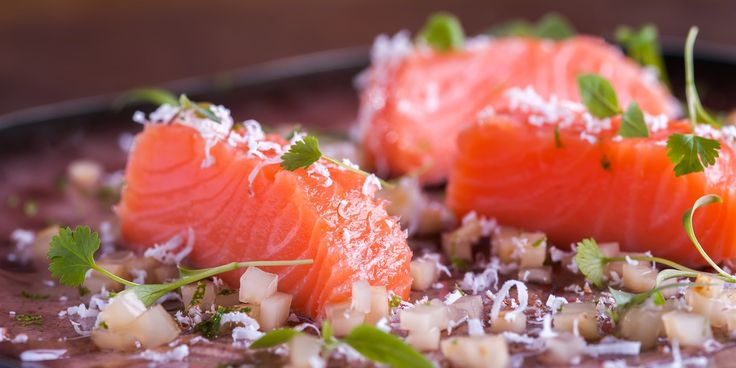 This delicious salmon recipe from Will Holland, uses sous vide technique to perfectly cook the salmon. The chef finishes the dish with a citrus gel and grated coconut.