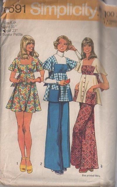 MOMSPatterns Vintage Sewing Patterns - Simplicity 5691 Vintage 70's Sewing Pattern SWEET Boho Square Neck High Empire Waist Contrast Bib Detail Flutter Sleeve Smock Top, Babydoll Mini Dress & Flared Leg Pants