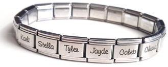 Personalized Name Links for Italian Charm Bracelets, fits all popular brands!  Available at www.charisjewelry.co.za