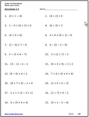 Use These Free Algebra Worksheets to Practice Your Order of Operations: Worksheet # 5  of 6 (Answers on Pg. 2 of PDF)