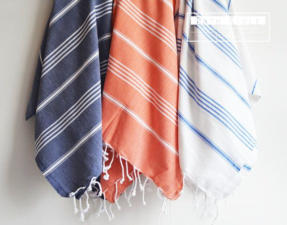 turkish bath towel classic peshtemal white blue by bathstyle