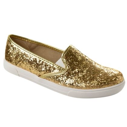 Slip On Feminino Moleca Glitter - Dourado