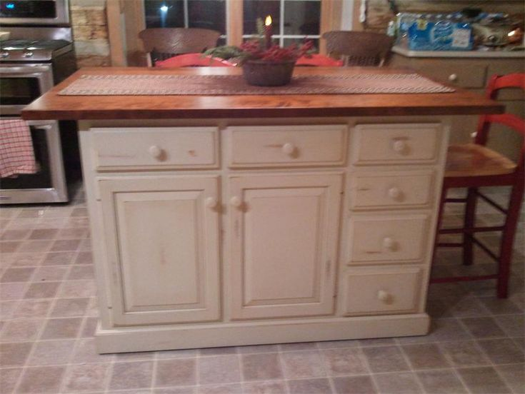Amish Mission Kitchen Island With Self Storing Extensions