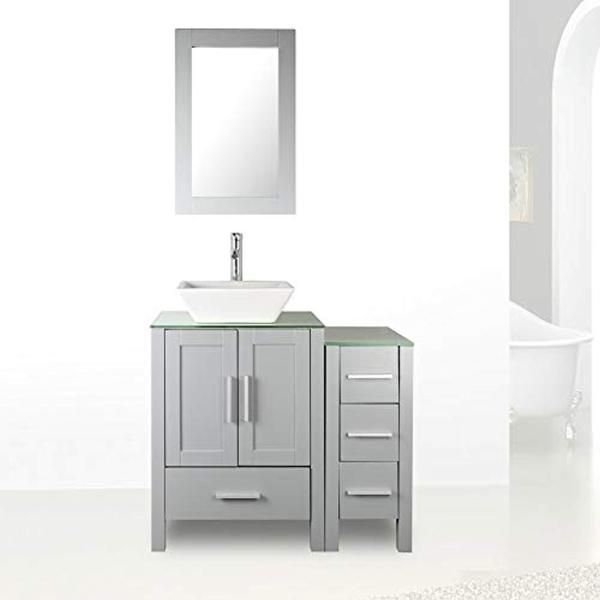 36 Black Bathroom Vanity Cabinet Single Sink Glass Top Paint Mdf Wood W Faucet Mirror Drain Set Black Vanity Bathroom Grey Bathroom Paint Single Bathroom Vanity