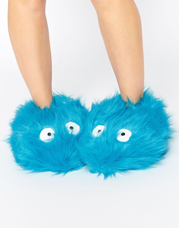 Blue Fluffy Monster Slippers