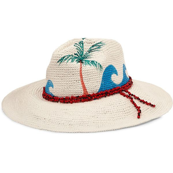 Sensi Studio Beaded painted toquilla straw Panama hat (815 RON) ❤ liked on Polyvore featuring accessories, hats, white, sensi studio, beaded hat, straw hat, palm frond hat and panama straw hat