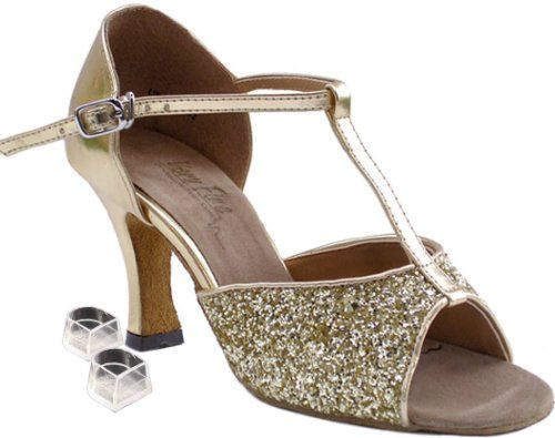 Very Fine Womens Salsa Ballroom Tango Latin Dance Shoes Style 5004 Bundle with Plastic Dance Shoe Heel Protectors Gold Sparkle 45 M US Heel 3 Inch ** Click image to review more details.