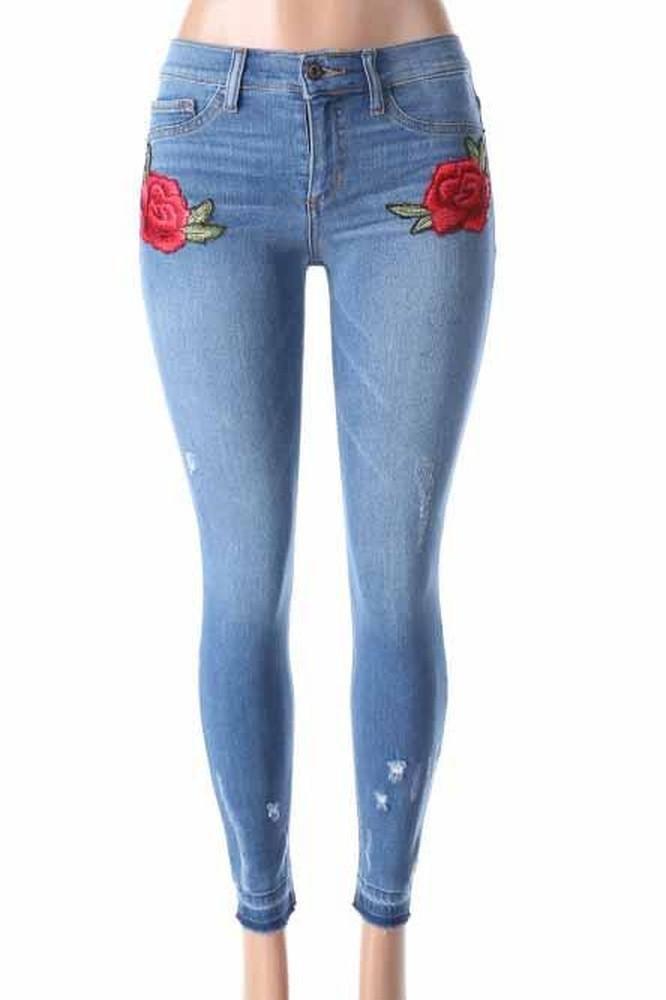 Salt Tree Women's Sneak Peek Soft Washed Out Floral Embroidered Denim Jeans, US Seller