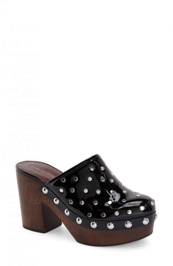 MARC BY MARC JACOBS 'Dylan' Platform Clog (Women) | Fashiondoxy.com  Description - Free shipping and returns on MARC BY MARC JACOBS 'Dylan' Platform Clog (Women) at Fashiondoxy.com. Polished studs and grommets play up the streetwise sophistication of a patent-leather clog set on a woodgrain platform sole.