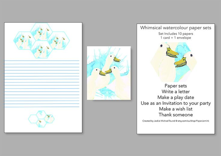 Duck Paper Set, Printable Letterset, Digital Download  Duck Set, Write a Letter, Make a Play Date, Send a Thankyou, Invitation by PaperJamink on Etsy