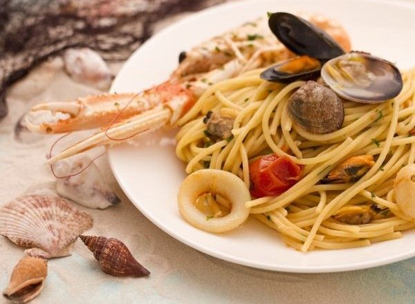 The seafood spaghetti, a pasta dish made with shellfish and crustaceans, is often a strong point of seafood restaurant menus; every restaurant has in fact its own version of seafood spaghetti. There are a number of ways to prepare seafood spaghetti, according to different places and seasons; the absolute essentials are mussels and clams, the type of shellfish most appreciated and used by Italian people.
