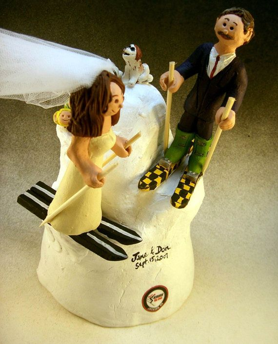 Skiers Wedding Cake Topper      Wedding Cake Topper for Skiers , custom created for you! Perfect for the marriage of a Skiing Groom and his Bride!    $235   #magicmud   1 800 231 9814   www.magicmud.com