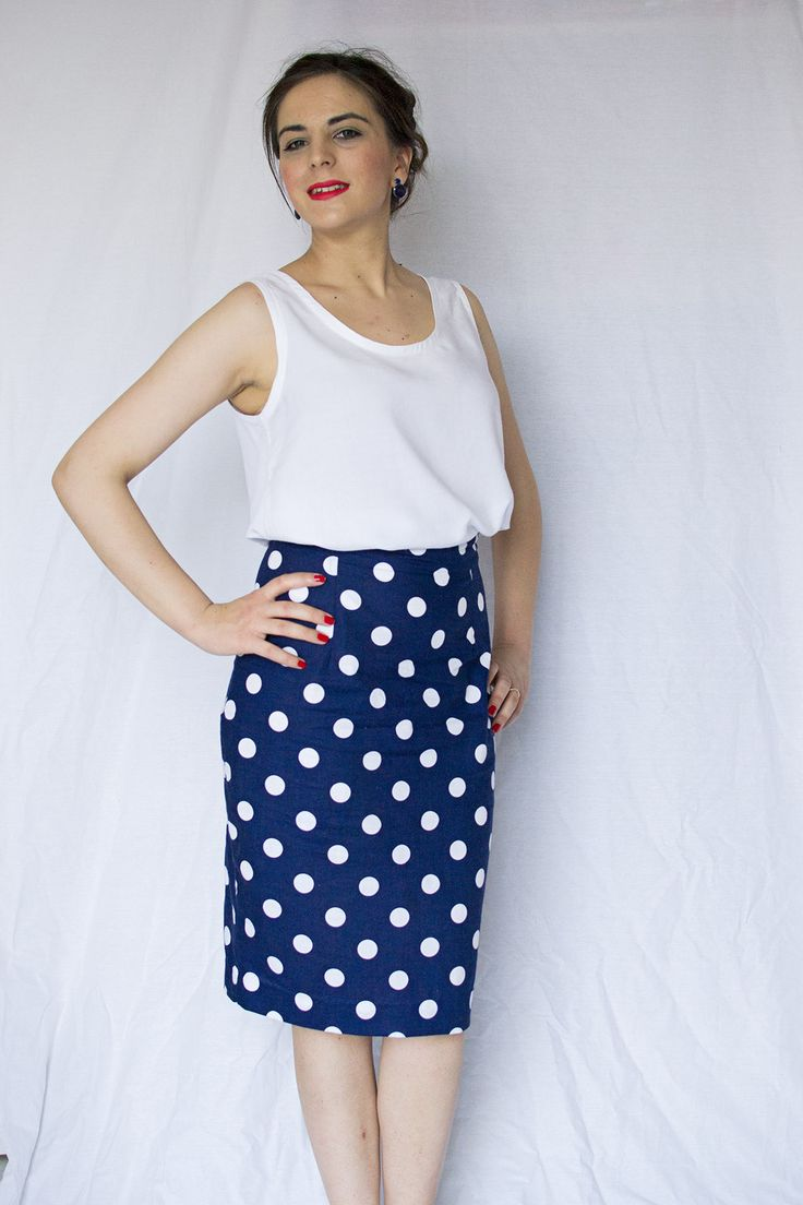 Sew Over It ultimate pencil skirt in navy polka dots and a white silk cami