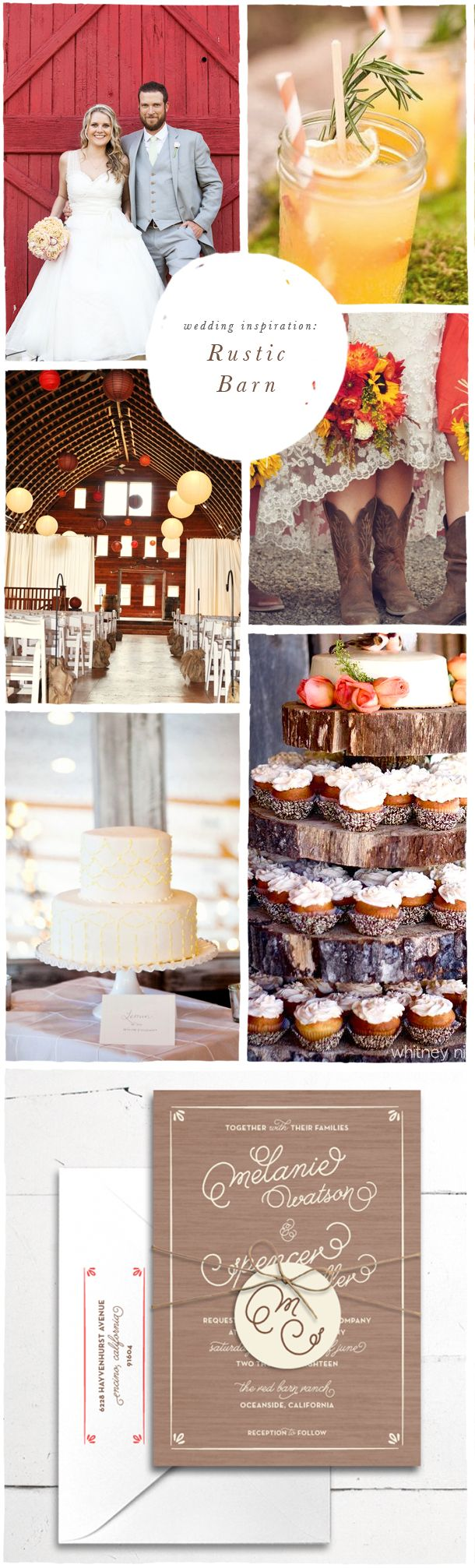 Wedding Inspiration: Rustic Barn featuring Union Barn wedding invitation | Rustic and fun with splashes of yellow red and brown | Smitten On Paper
