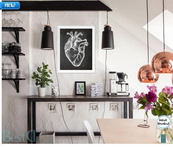 Anatomic white chalkboard heart printablewall by BestDesignland