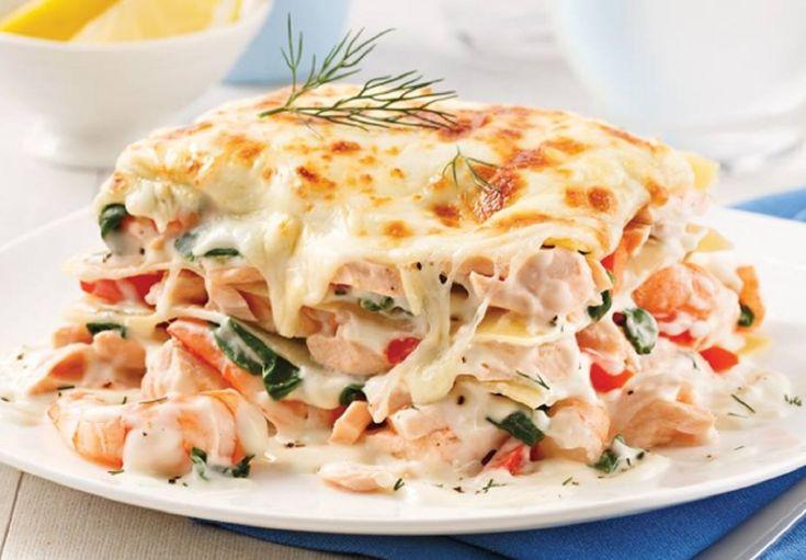 Recette : Lasagne au saumon et crevettes.
