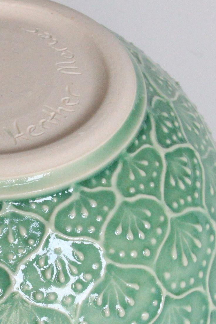 Porcelain Ceramic Bowl with Hand Painted Slip Trailed Pattern in Green Glaze, Wheel Thrown OOAK. via Etsy.
