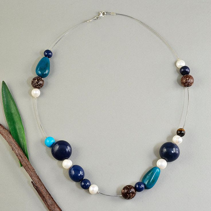 Short white pearl and navy blue tagua nut necklace, gray iron cord necklace with brown forest beads and fresh water pearls,eco-chic necklace by ColorLatinoJewelry on Etsy