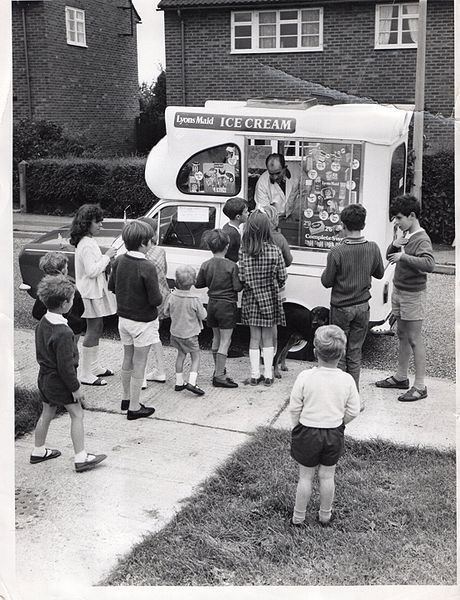 Trip to the ice cream van - 1960's. All the neighborhood kids would listen for the little tune the van played, then run like crazy with their allowance money.