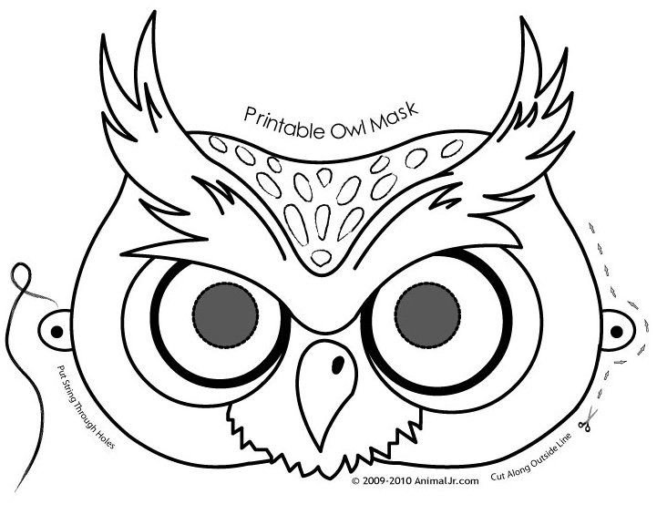 Owl activities: FREE printable Owl Mask Coloring Page.