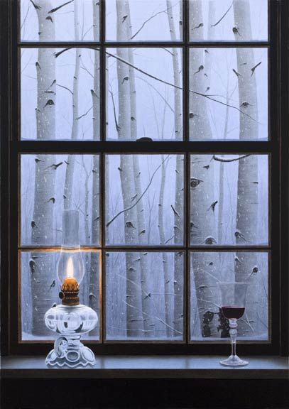 """Aspen Window"" by Alexander Volkov, oil painting."