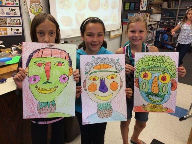 Jamestown Elementary Art Blog: Fourth grade Giuseppe arcimboldo fruit and vegetable portrait