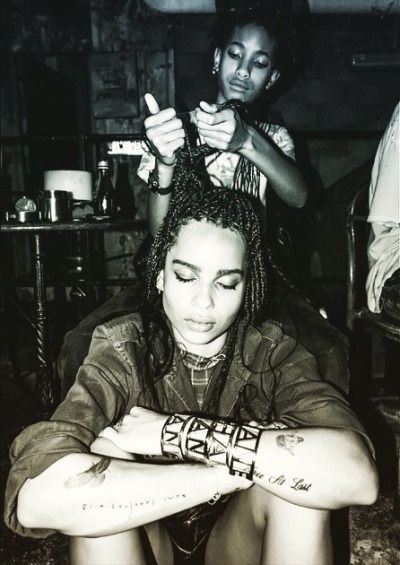willow smith braiding zoe kravitz  hair